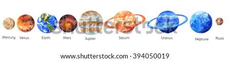 The planets of the Solar system on white background. Mercury, Venus, Earth, Mars, Jupiter, Saturn, Uranus, Neptune, Pluto. Watercolor illustration - stock photo