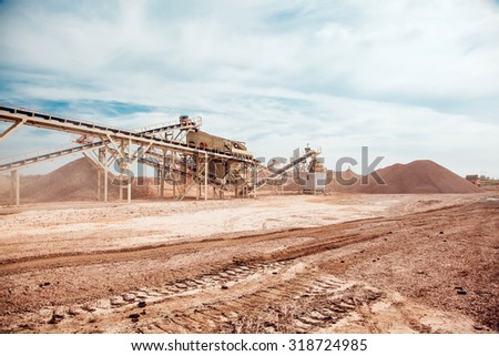 The Plant of the Production the Crushed Stone - stock photo