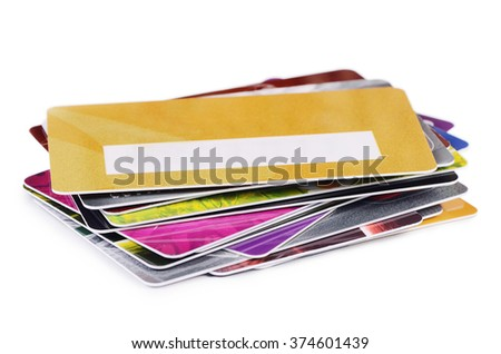 The plastic card isolated on white background