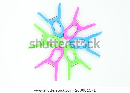 The plastic clothespin - stock photo