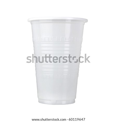 the plastic mug isolated on white - stock photo