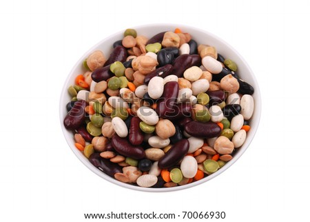 The plate with various bean on white - stock photo