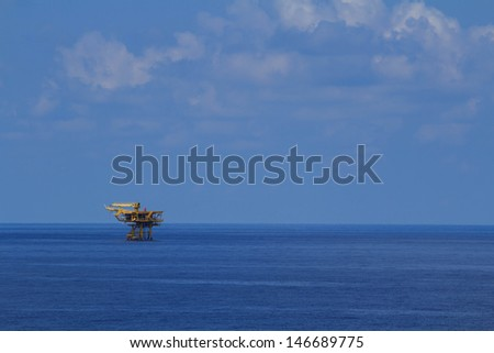 The platform in offshore oil and gas society.The platform in the ocean or in the gulf. - stock photo