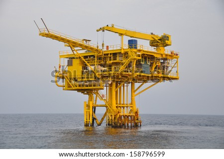 The platform in offshore oil and gas society.The platform in the ocean or in the gulf - stock photo