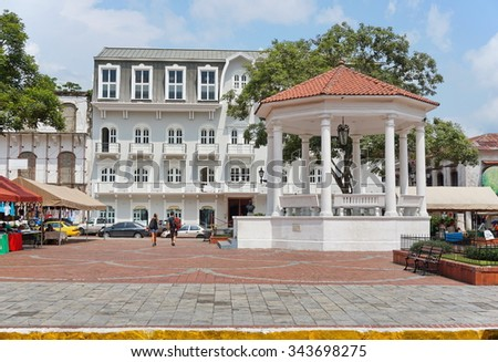 The Plaza de la Independencia and its gazebo in the Casco Viejo, the historic district of Panama City, Panama, Central America - stock photo