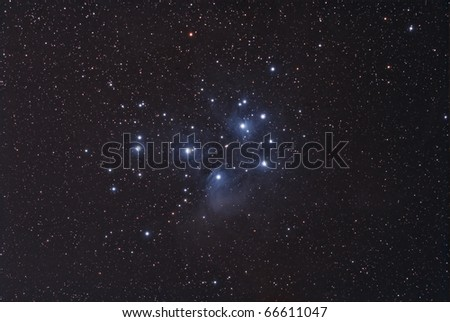 The Pleiades Cluster, The Seven Sisters - stock photo
