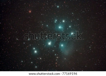 the Pleiades, or Seven Sisters (Messier object 45), is an open star cluster containing middle-aged hot B-type stars located in the constellation of Taurus.