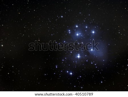 The Pleiades, or Seven Sisters of Greek Mythology - stock photo