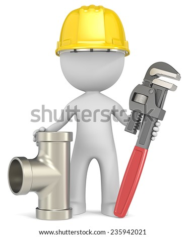 The Plumber. Dude the Plumber with Wrench and Pipe. - stock photo