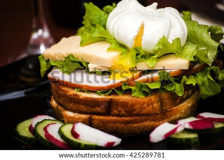 the poached egg - stock photo