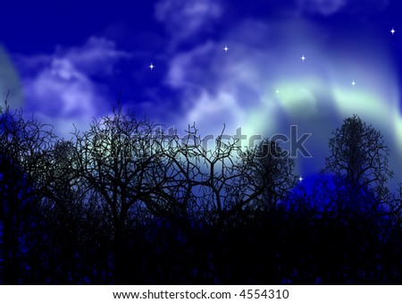The polar lights on a background of outlines of a forest - stock photo