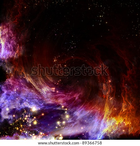 The polar Northern Lights and the stars shine through the clouds and look like a birth of a new spiral nebula after the supernova explosion - stock photo