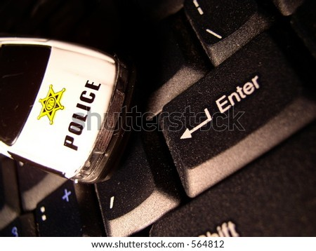 """The """"police"""" are watching you every time you hit enter - stock photo"""