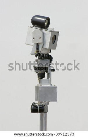 The police bomb-disposal robot video camera arm - stock photo