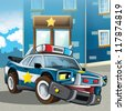 The police car - illustration for the children - stock photo