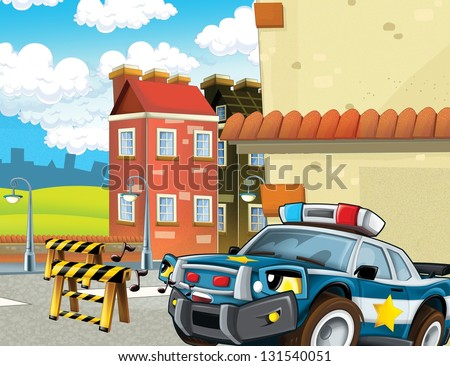 The police car officers - illustration for the children