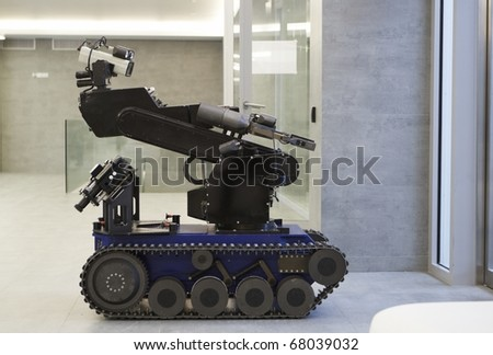 The police robot for working with bomb. - stock photo