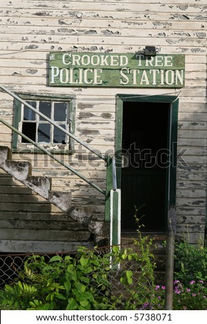 The police station in Crooked Tree, Belize - stock photo