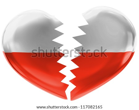 The Polish flag painted on 3d broken heart - stock photo
