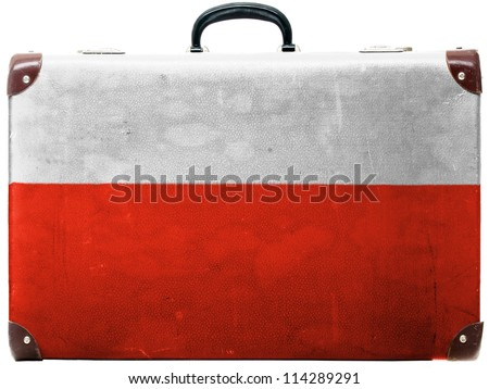 The Polish flag painted on old grungy travel suitcase or trunk - stock photo