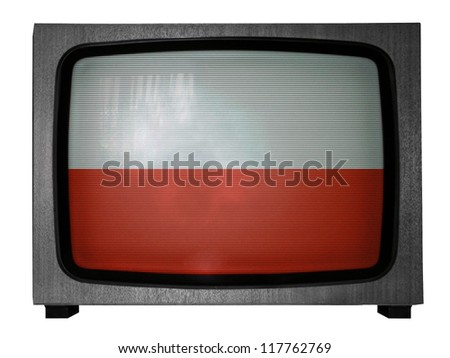 The Polish flag painted on old TV - stock photo
