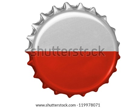 The Polish flag painted on stopper - stock photo