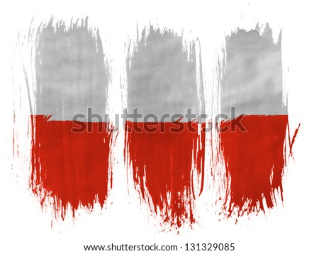 The Polish flag painted with 3 vertical  brush strokes on white background - stock photo