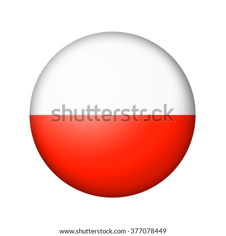 The Polish flag. Round matte icon. Isolated on white background.