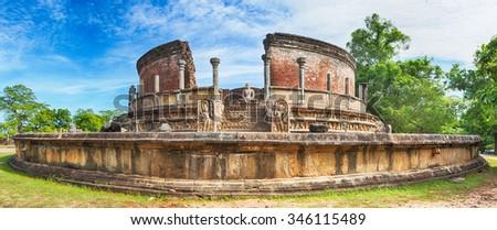The Polonnaruwa Vatadage in the world heritage city Polonnaruwa, Sri Lanka. Panorama - stock photo