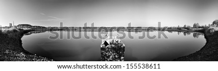 The Pond, coal exploited land - stock photo