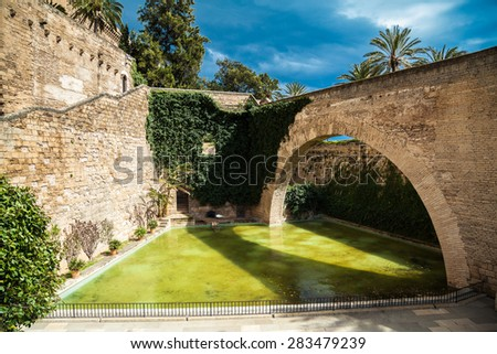 the pond near Cathedral church in Palma de Mallorca, Spain - stock photo