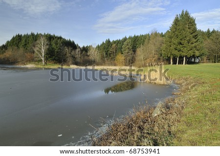 The pond surrounded by conifers - stock photo