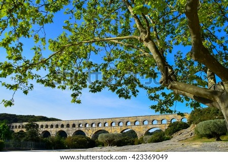 The Pont du Gard, France - stock photo