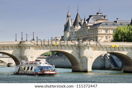 The Pont Neuf (New Bridge), the oldest standing bridge across the river Seine in Paris, France.