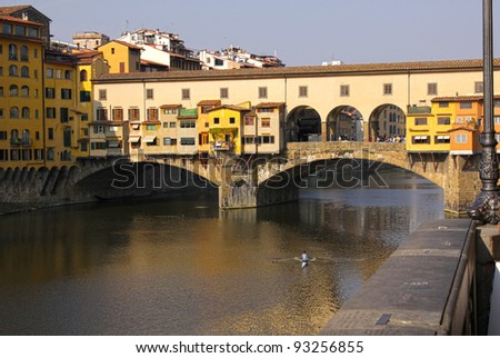 The Ponte Vecchio and Arno river in Florence, Italy.