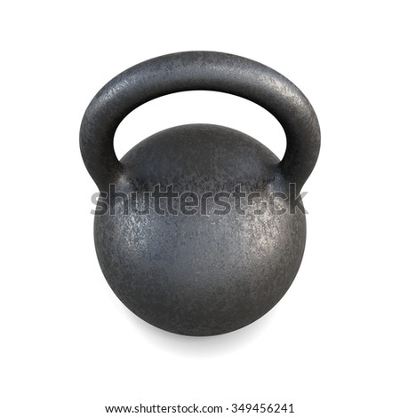 The pood kettlebell closeup on a white background. 3d rendering. - stock photo
