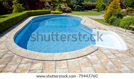 The pool with the garden - stock photo