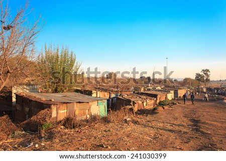 The poorest part of Soweto - South West Township in Johannesburg ,South Africa. SOWETO is the most populous black urban residential area in the country, with a population of around a million - stock photo