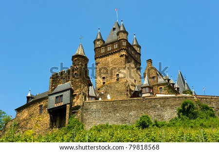 The popular castle of the city Cochem in Germany - stock photo