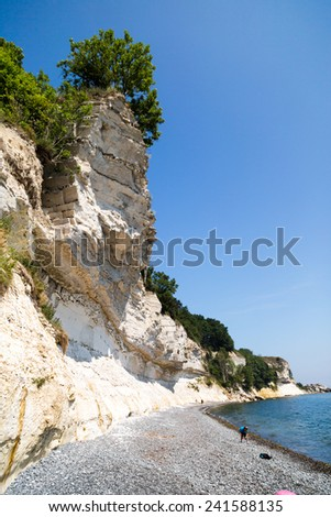 The popular Danish tourist attraction Stevns Klint on a sunny summer day. - stock photo