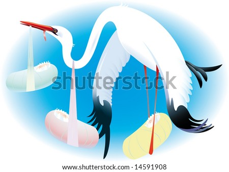 The population explosion, stork becomes exhausted carrying children. A vector illustration. - stock photo