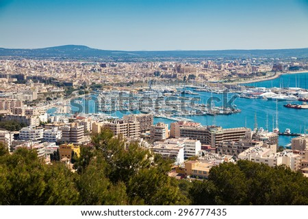 the port and historical centre of Palma de Mallorca, Spain - stock photo