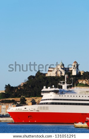 The port of Ancona with Ancona dome background - stock photo