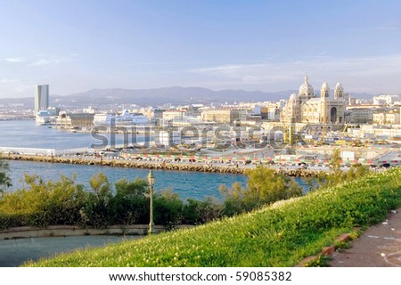 The port of Marseille in the summer - stock photo