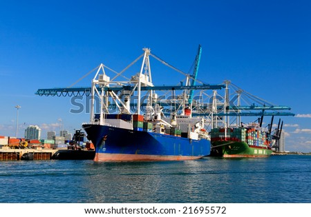 The Port of Miami is the major port in USA - stock photo