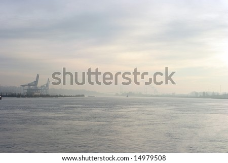 The port of Surrey on the Fraser River in Vancouver British Columbia - stock photo