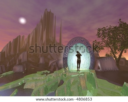 The Portal, 3d rendering with great detail - stock photo