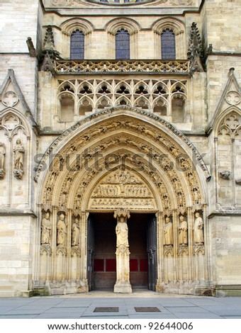 The portal of the cathedral of Bordeaux, France, UNESCO - the Pilgrim's Road to Santiago de Compostela - stock photo
