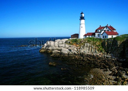The Portland Head Lighthouse located in Portland Maine - stock photo