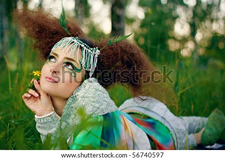 The portrait of a woman, fantasy make-up - stock photo